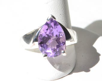 Vintage Sterling Silver 925 Faceted Natural Purple Amethyst 4 CT Ring Size 6.5