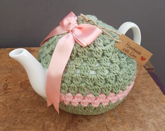 Pink & Green Crochet Tea Cosy including Tea Pot.