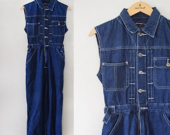 Vintage denim sleeveless jumpsuit / button front collared jean jumpsuit