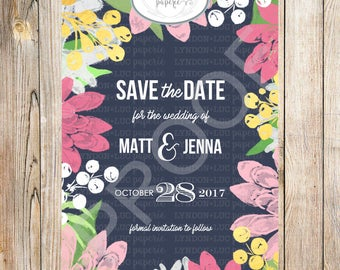 Navy Floral Save the Date