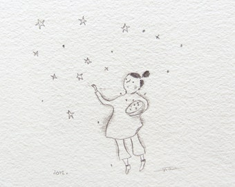 catching stars, childrens illustration, star nursery wall art, naive art, whimsical star drawing
