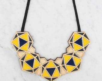 Minimalist Necklace / Geometric Bib - Navy / Yellow / Dark Grey / Statement Necklace / Contemporary Necklace
