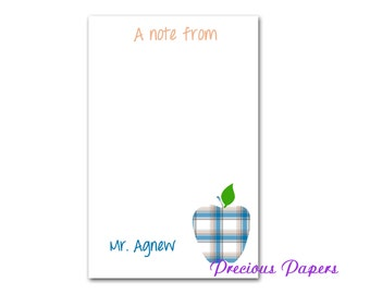 Personalized blue plaid teacher notepads  male teacher gifts  male teacher notepads
