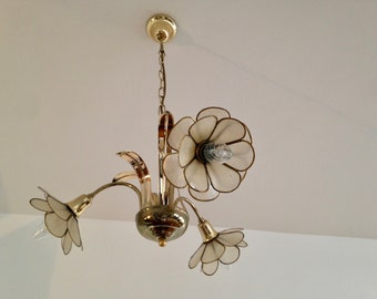 Chandelier 3 flowers - mother of Pearl and brass - vintage