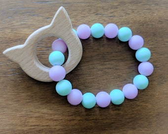 Cat Teether- Beech Wood and Silicone Teething Ring-Baby Teethers- Mint, Purple