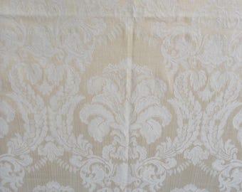 table cloth Vintage Formal golden Yellow Damask tone on tone tablecloth Fleur de Lis