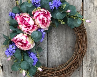 Best Selling Wreath! Spring Wreaths for Front Door, Peony Wreath, Spring Wreath, Mother's Day Gift, Baby Girl Wreath, Spring Door Wreath