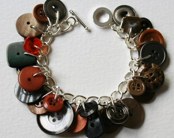 Button Bracelet Brown Brick Orange Gray Mix