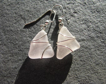 White Sea Glass Earrings Wire Wrapped Beach Glass Lavender Lilac