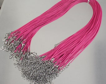 100 Pink Necklace Cord bulk, 1.5mm 18-20 inch adjustable PINK compressed cotton HIGH quality cord necklace - Ship from USA