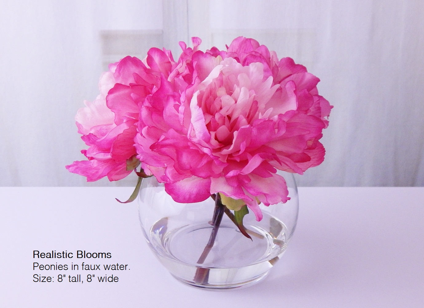 Pink hot silk peony peonies glass vase faux water