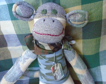 Military Army Camoflauge Sock Monkey Doll