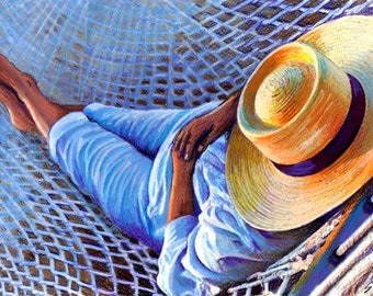 SALE original art  16x20  drawing lazy days summer hammock straw hat