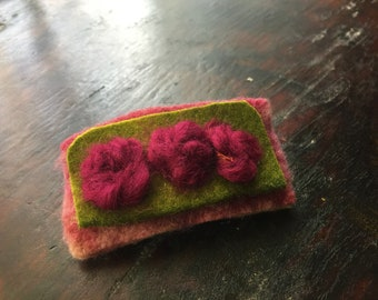 Felted handmade unique, gorgeous,strong,soft and flexible hair barette!Burgundy primroses - one of a kind.