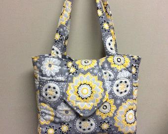 Sun Designs Yellow and Grey Shoulder Tote Bag