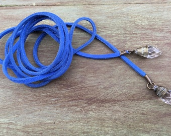 Royal Blue Suede Leather Wrap Necklace, Blue Leather Wrap Necklace, Blue Suede Leather Lariat, Blue Suede Wrap Necklace, Royal Blue Wrap
