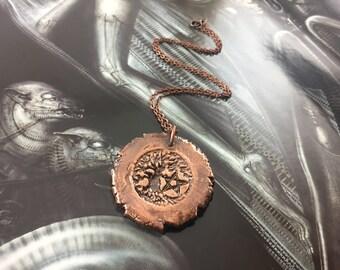 Tree Of Life Pentagram Amulet Pendant - Antique Copper - Cat No 933