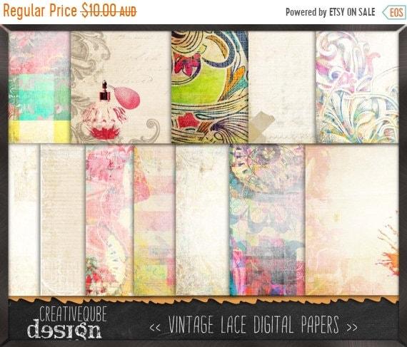 70% OFF Sale Digital paper, Digital Scrapbook paper pack - Instant download - 12 Digital Papers - Retro vintage