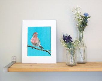 11x14 House Finch Wall Art with White Mat - Ready to Frame Bird Print from Original Acrylic Painting