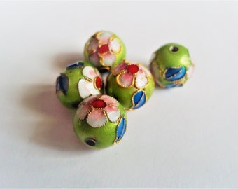 Cloisonne beads, handmade beads, green beads, flower beads, pink beads, pink flower beads, gold beads, green flower beads, gold flower beads