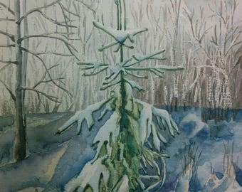 Watercolor painting of winter