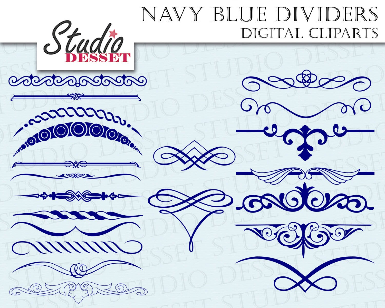 Blue Dividers, Digital Borders, DIY Wedding Invitations, Calligraphy ...