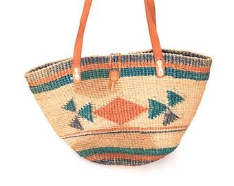 SISAL woven stripe 80s 90s JUTE tan leather bucket southwest TOTE purse bag