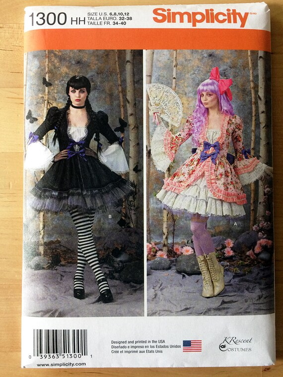 Simplicity 1300 HH Pattern - Gothic Lolita Costume Dress Sewing ...