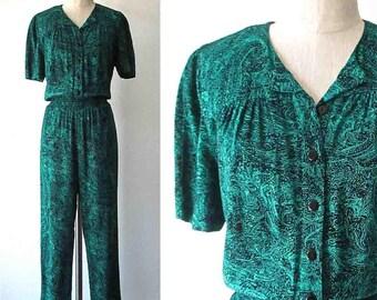 Vintage 1980's high waist PAISLEY PANTSUIT green and black jumpsuit - M