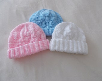 Hand knitted beanie hats choice of colours 0-3 months