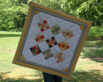 Baby Quilt, Sundrops, Baby Blanket, Baby Shower Gift, Heirloom Quilt, Yellow and Gray