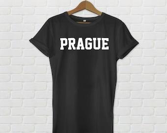 Prague Varsity Style T-Shirt - Black