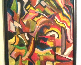 """Carousel Pastiche --- 20"""" X 30"""" Abstract, Oil on Canvas Original"""