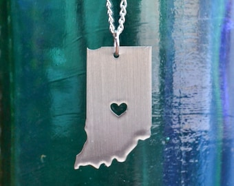 Indianapolis Indiana Love Pendant on 18inch Sterling Silver Chain