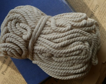 Over 60 feet Cotton Twisted Cord Off White Jewelry Cord 5mm (WTCN2676)