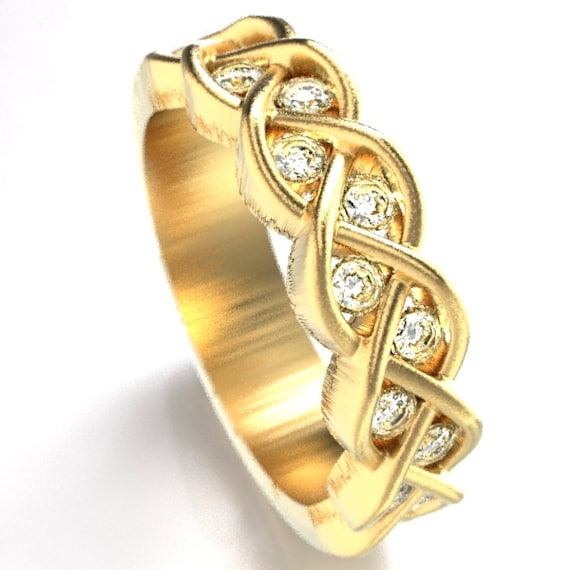 Celtic Wedding Moissanite Stone Ring With Braided Knot Design in 10K 14K 18K Gold, Palladium or Platinum, Made in Your Size CR-1005