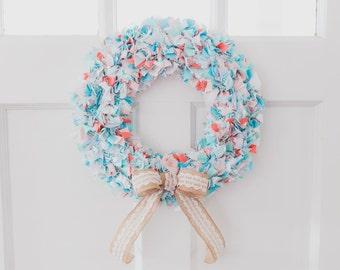 Custom Order Fabric Shabby Chic Rag Wreath