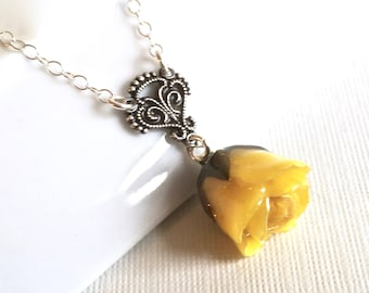 Yellow Real Rosebud Necklace - Natural Preserved, Sterling Silver, Flower Jewelry, Botanical Jewelry