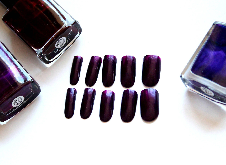 Deep purple nails Dark purple fake nails Artificial nails Purple ...