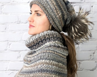 Chunky wool handmade hat and cowl | Chunky hand knitted set slouchy beanie and neckwarmer Winter accessories for women Gift for girlfriend