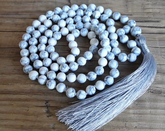 White howlite mala necklace 108 mala hand knotted necklace yoga jewelry white long tassel necklace 108 prayer beads necklace japa mala