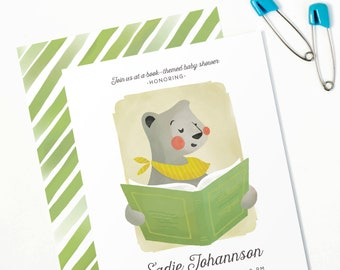 Book-Themed Baby Shower Invitation, Bring-a-Book Teddy Bear Invite // TEDDY READS