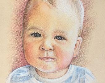 8x12 Custom portrait, baby Portrait, gift, , pencil portrait, drawing,  custom portrait, portrait from photo, personalized portrait