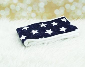 Baby Burp Cloth (NAVY STARS) ||| burp rag, baby burp cloths, burping rag, baby shower gift, baby gift, new baby gift