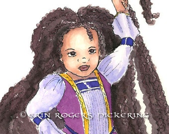 African American Rapunzel with Twists modern fairy tales 8x10 Print