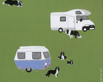 border collie & caravan - miniature painting