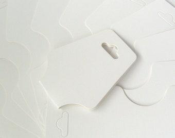 50 x White Plain Necklace Bracelet Jewellery Hanging Folding Display Cards