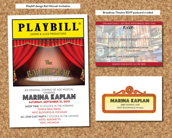 Items similar to PLAYBILL Theater Bat Mitzvah invitation RSVP