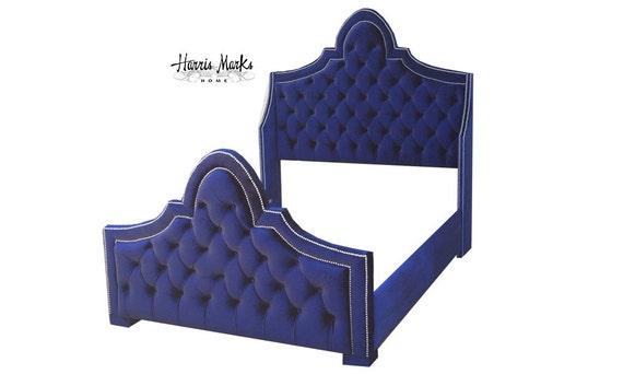Francés Tufted cama terciopelo azul real Queen King Full doble