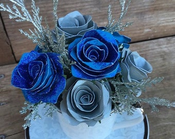 Handmade paper teacup floral arrangements
